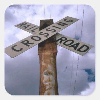 Railroad crossing sign square sticker