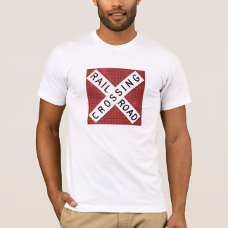 Railroad Crossing Sign With Brickwall Background T-Shirt