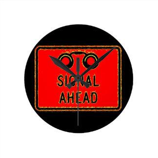 Railroad Crossing Signal Ahead Round Wall Clocks