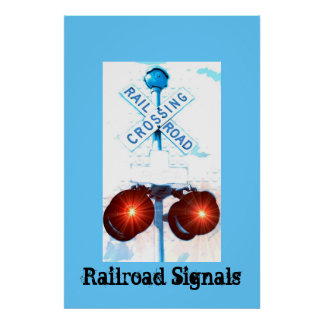 Railroad Crossing Signal Scenery Poster