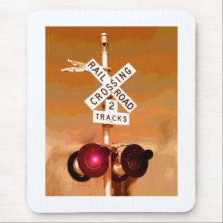 Railroad Crossing Signal Sepia Mouse Pad