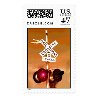 Railroad Crossing Signal Sepia Postage