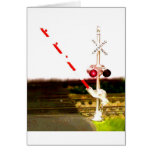 Railroad Crossing Signals And Railroad Tracks Greeting Card