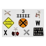Railroad Crossing Signs Posters