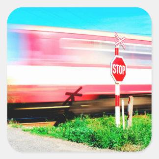 Railroad crossing square sticker