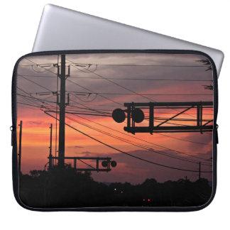 Railroad Crossing Sunset Computer Sleeve