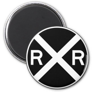 Railroad Crossing Warning Street Sign Train 2 Inch Round Magnet