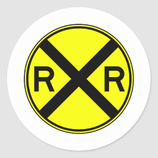 Railroad Crossing Warning Street Sign Train Classic Round Sticker