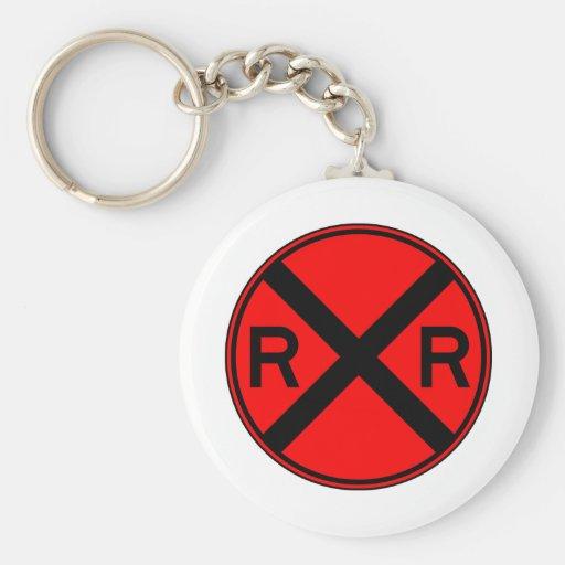 Railroad Crossing Warning Street Sign Train Basic Round Button Keychain