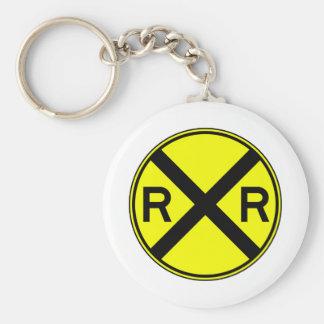 Railroad Crossing Warning Street Sign Train Key Chain