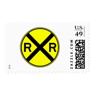 Railroad Crossing Warning Street Sign Train Postage Stamp