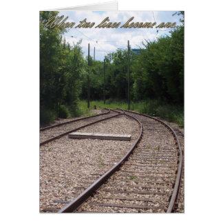 Railroad cuando dos vidas se convierten en una inv tarjeta de felicitación