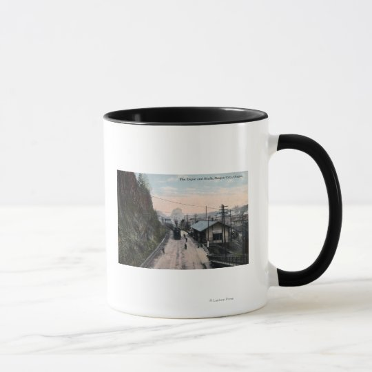 Railroad Depot and Bluffs City, OR Mug