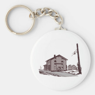 Railroad Depot Basic Round Button Keychain
