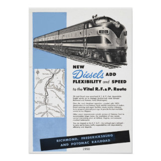 Railroad Diesels  for The Vital R.F.& P. Route Poster