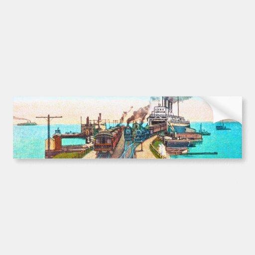 Railroad Ferry Docks, Mackinaw, Michigan Bumper Sticker
