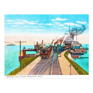 Railroad Ferry Docks, Mackinaw, Michigan Postcard