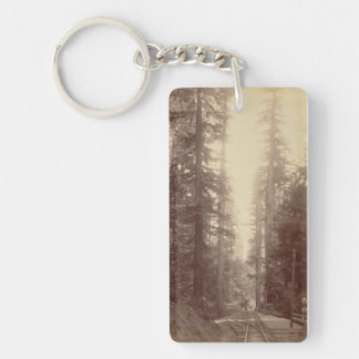 Railroad in the Forest Keychain -Railroad Series#2 Double-Sided Rectangular Acrylic Keychain