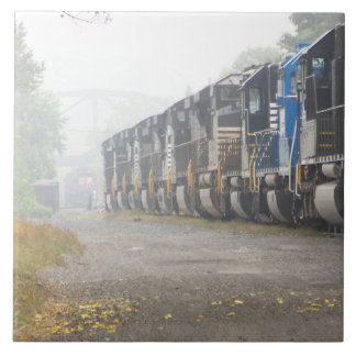 Railroad Locomotives In The Mist Ceramic Tile