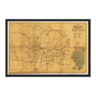 Railroad Map Chicago & Surrounding Midwest c. 1850 Canvas Print