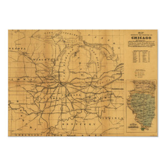 Railroad Map Chicago & Surrounding Midwest c. 1850 Card