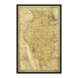 Railroad Map of Illinois (April 1, 1898) Canvas Print