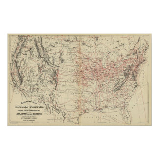Railroad map US Poster