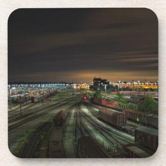 Railroad Marshalling Yard at Night Beverage Coaster