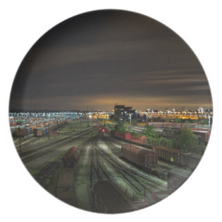 Railroad Marshalling Yard at Night Melamine Plate
