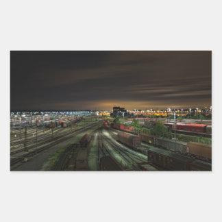 Railroad Marshalling Yard at Night Rectangular Sticker