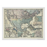 Railroad & Military Map USA 1862 Poster