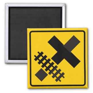 Railroad Parallels Main Road at Crossroad Sign 2 Inch Square Magnet