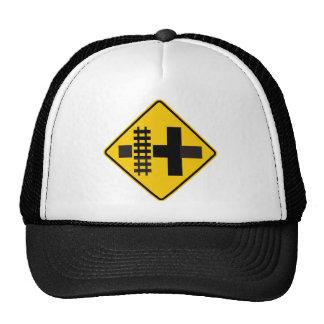 Railroad Parallels Main Road at Crossroad Sign Trucker Hat