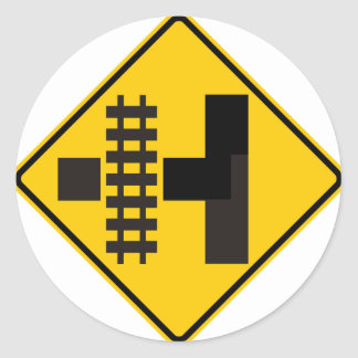 Railroad Parallels Main Road at Side Road Sign Classic Round Sticker