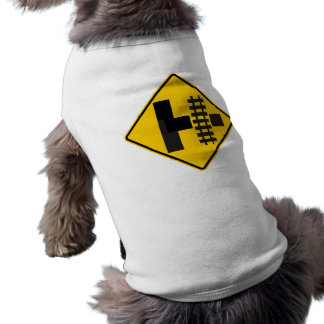 Railroad Parallels Main Road at Side Road Sign Doggie T-shirt