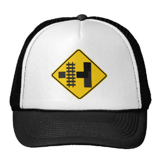 Railroad Parallels Main Road at Side Road Sign Trucker Hat