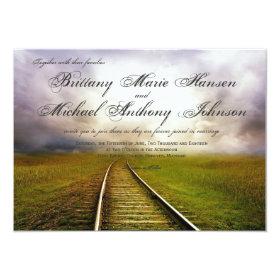 Railroad Path in Field Country Wedding Invitations 4.5