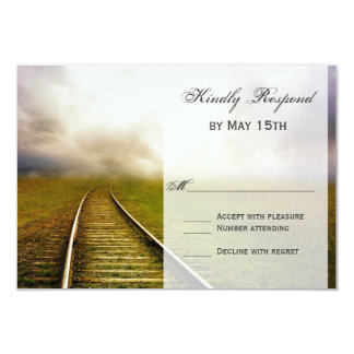 Railroad Path in Field Country Wedding RSVP Cards