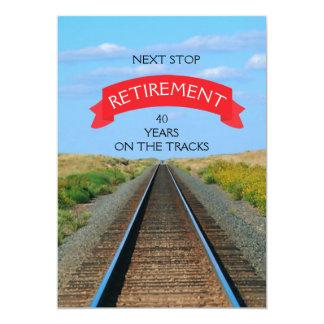Railroad Railway Train Track Retirement Party Card