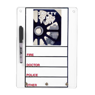 Railroad Safety Comes First Vintage Dry Erase White Board