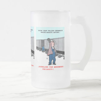 Railroad Safety Comes First Vintage Frosted Glass Beer Mug