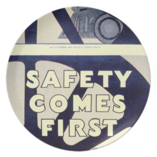 Railroad Safety Comes First Vintage Plate