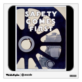Railroad Safety Comes First Vintage Wall Decal