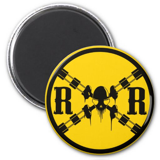 Railroad Sign Crossing 2 Inch Round Magnet