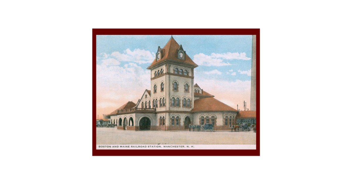 Railroad station manchester nh vintage postcard zazzle for Craft stores manchester nh