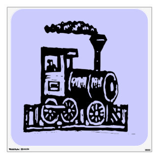Railroad Steam Locomotive Custom Wall Decal-Blue Wall Sticker