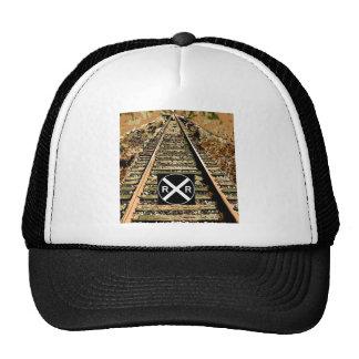 Railroad Tracks And Railroad Sign Trucker Hat