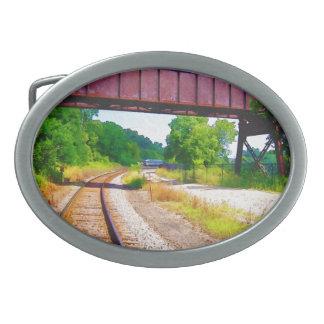 Railroad Tracks And Tressel Oval Belt Buckles