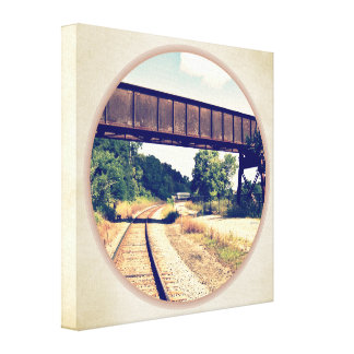 Railroad Tracks And Trestle Stretched Canvas Print