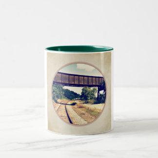 Railroad Tracks And Trestle Two-Tone Coffee Mug